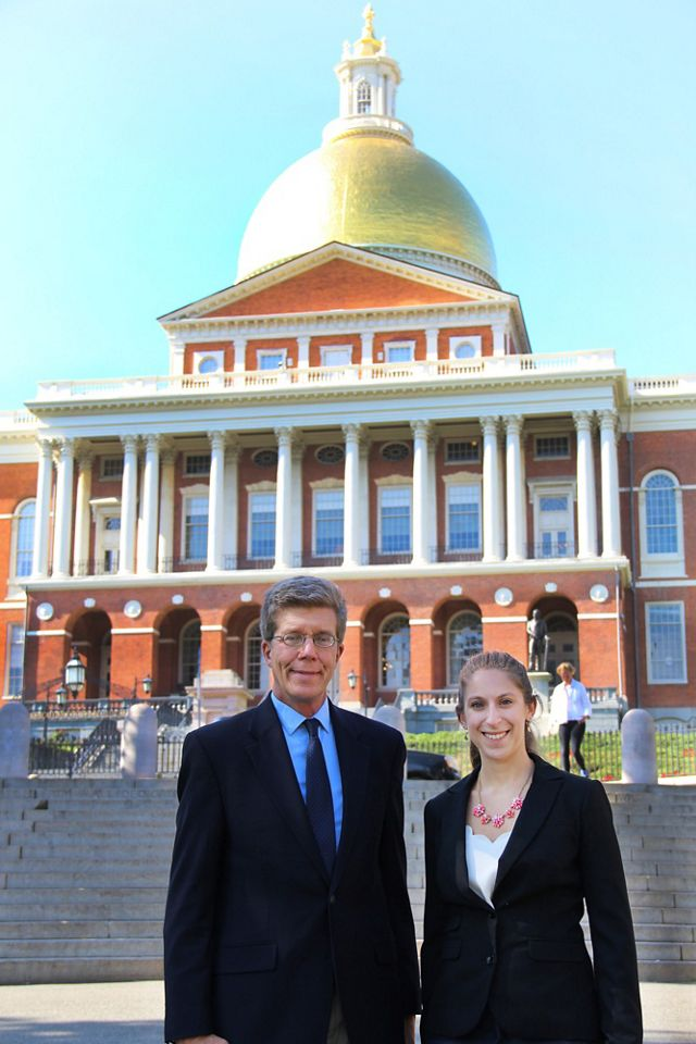 Steve Long and Emily Myron, the government relations team for TNC in Massachusetts, are often at the Massachusetts State House advocating for conservation and climate policy.