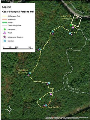 Map of Manchester Cedar Swamp Preserve.