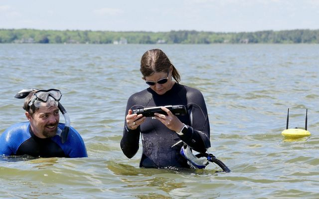 TNC staff prepare to deploy an underwater drone off Assateague National Seashore, Maryland.