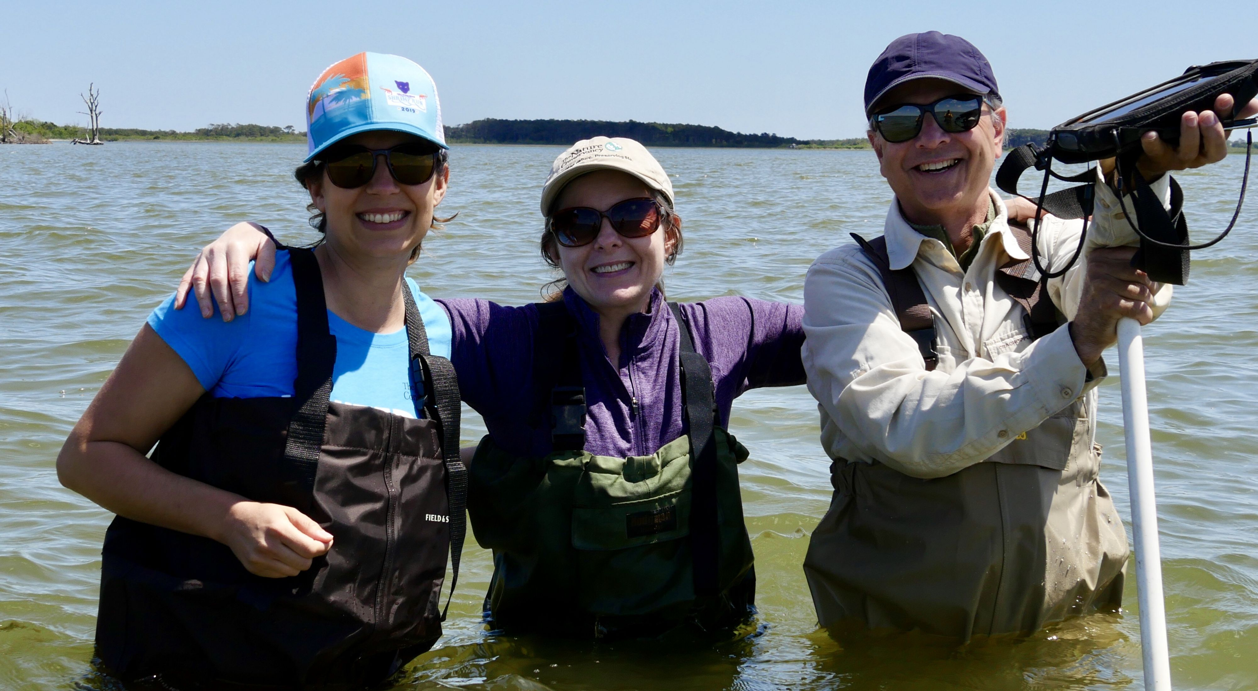 Maryland staff during a successful eelgrass monitoring trip in Sinepuxent Bay off of Assateague National Seashore, Maryland.