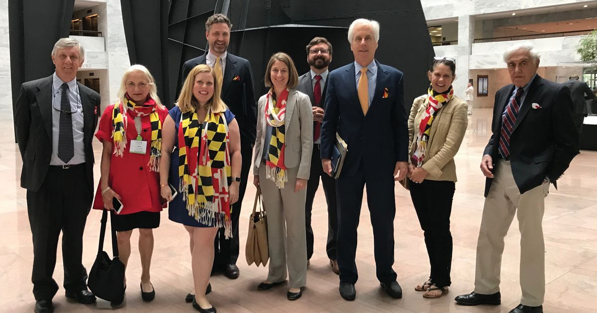 MD/DC chapter trustees and staff prepare to meet with the offices of MD Senators Ben Cardin and Chris Van Hollen on Advocacy Day during TNC's 2018 Volunteer Leadership Summit.