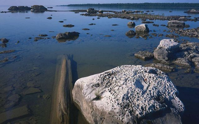 Rocks in the water along the shoreline.