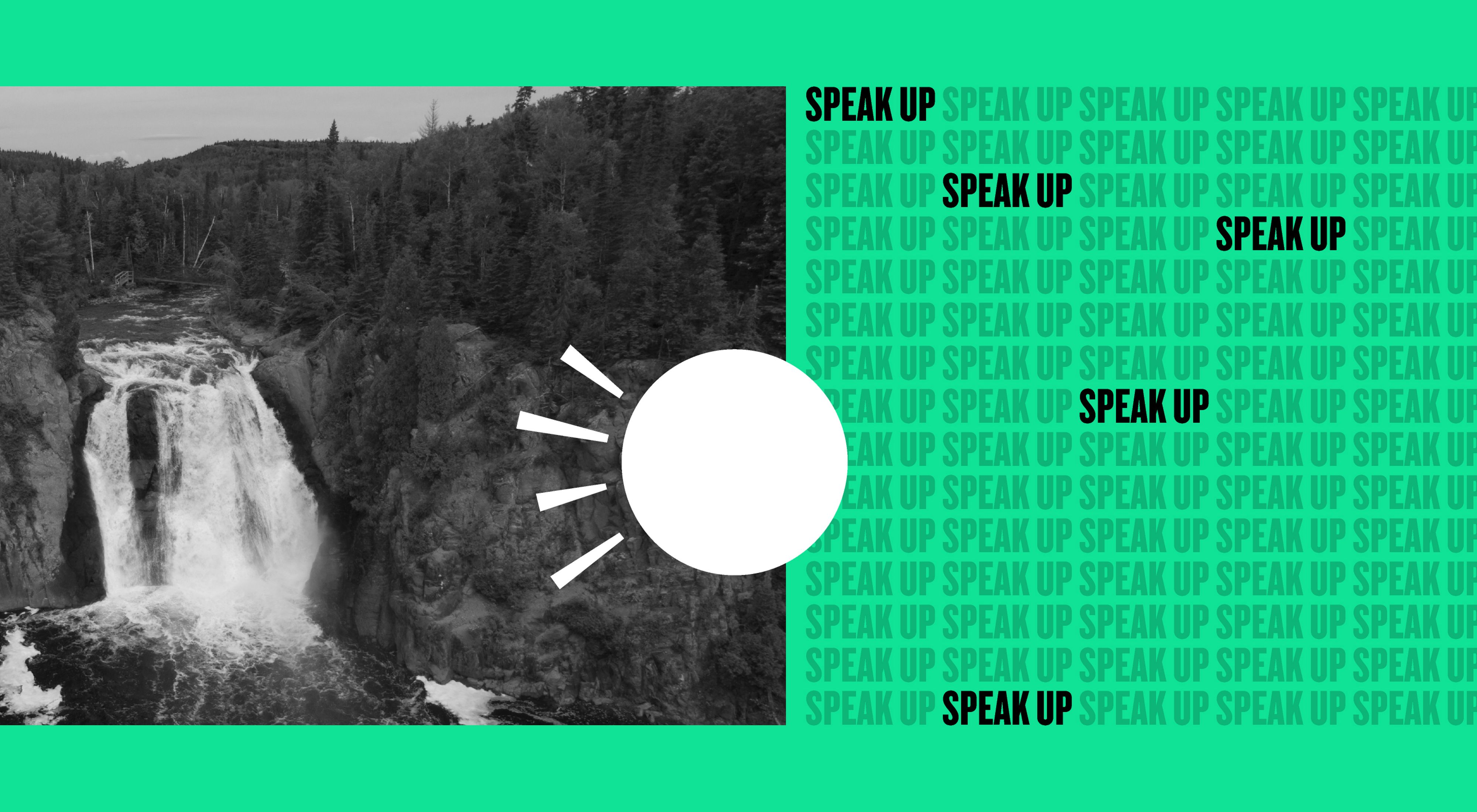 A graphic with a black and white photo of a waterfall on one side and the words 'speak up' repeated on a green background on the right.