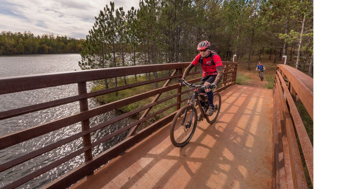 Recreational biking on the established mountain bike trails in the Cuyuna Country State Recreation Area near Brainerd in Crow Wing County, Minnesota.