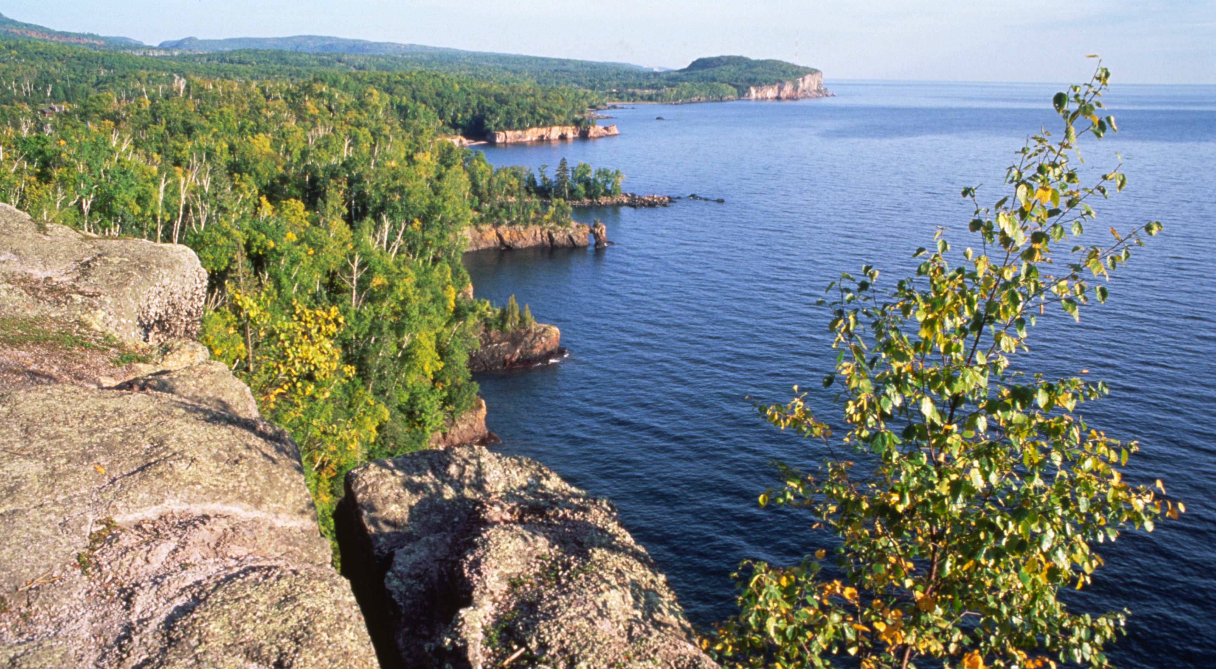 along Lake Superior in Minnesota. Shoreline like this along the Great Lakes is highly resistant to climate change.