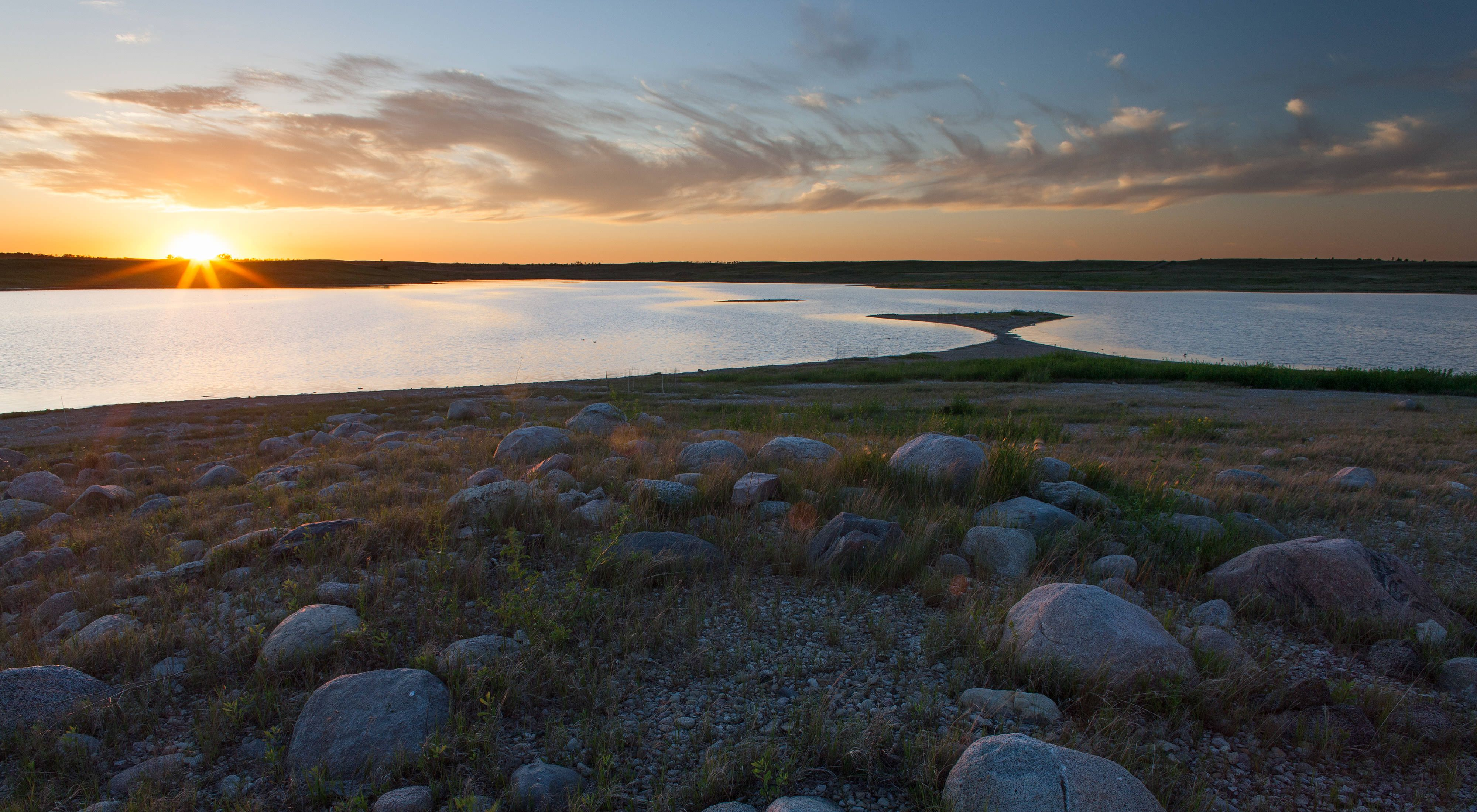 two alkali lakes at sunset.