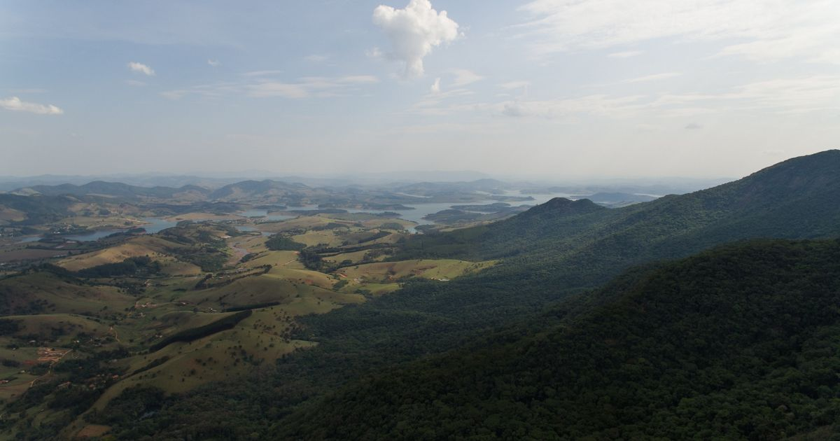 Aerial view of Mantiqueira, a mountain range in eastern Brazil,