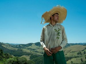 A person in a large straw hat holds a sapling ready to be planted. The Mantiqueria forest in Brazil is in the background.