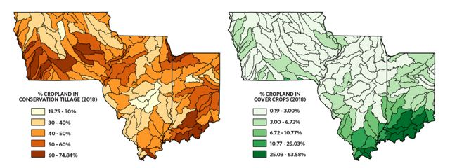 Two maps showing amounts of cover crops and conservation tillage in Iowa, Illinois and Indiana.
