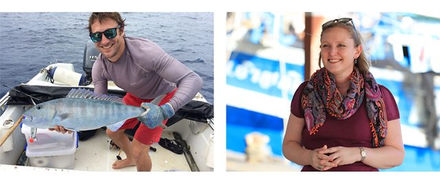 a photo of Mark Zimring smiling while on a boat holding a fish, next to a photo of Darian McBain standing outside and smiling during an interview