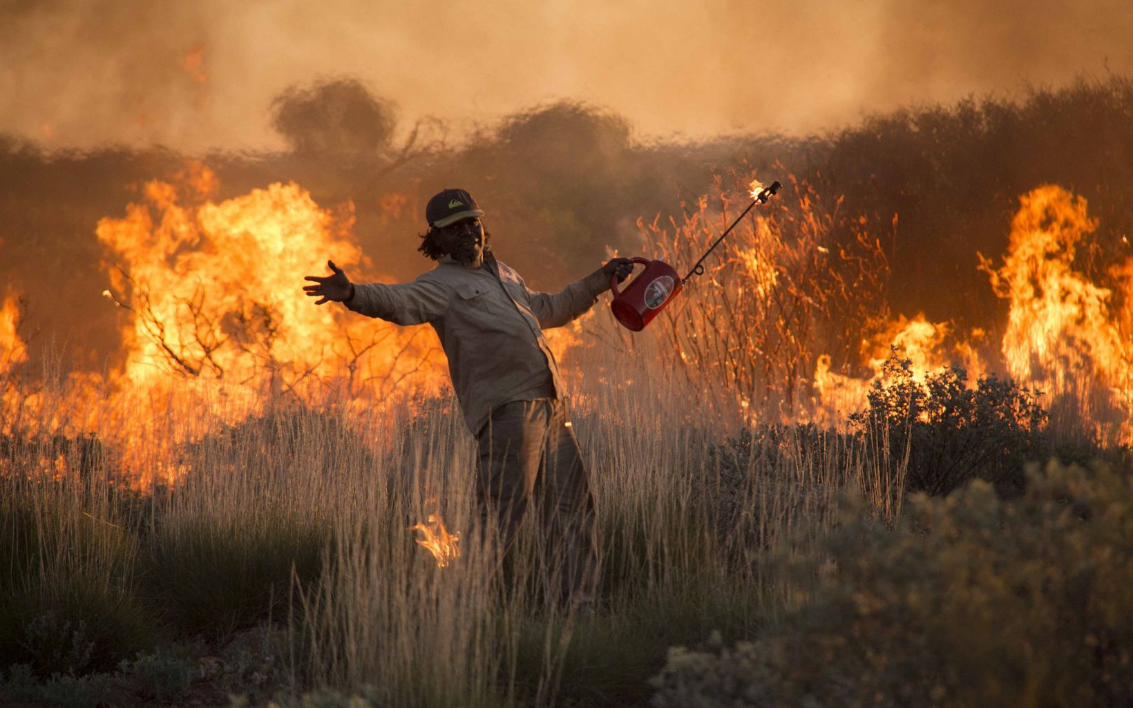 Burning spinifex grass in the Western Desert