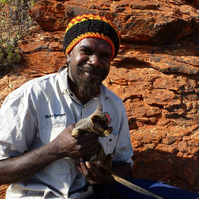Martu ranger with young Black-flanked Rock-wallaby.