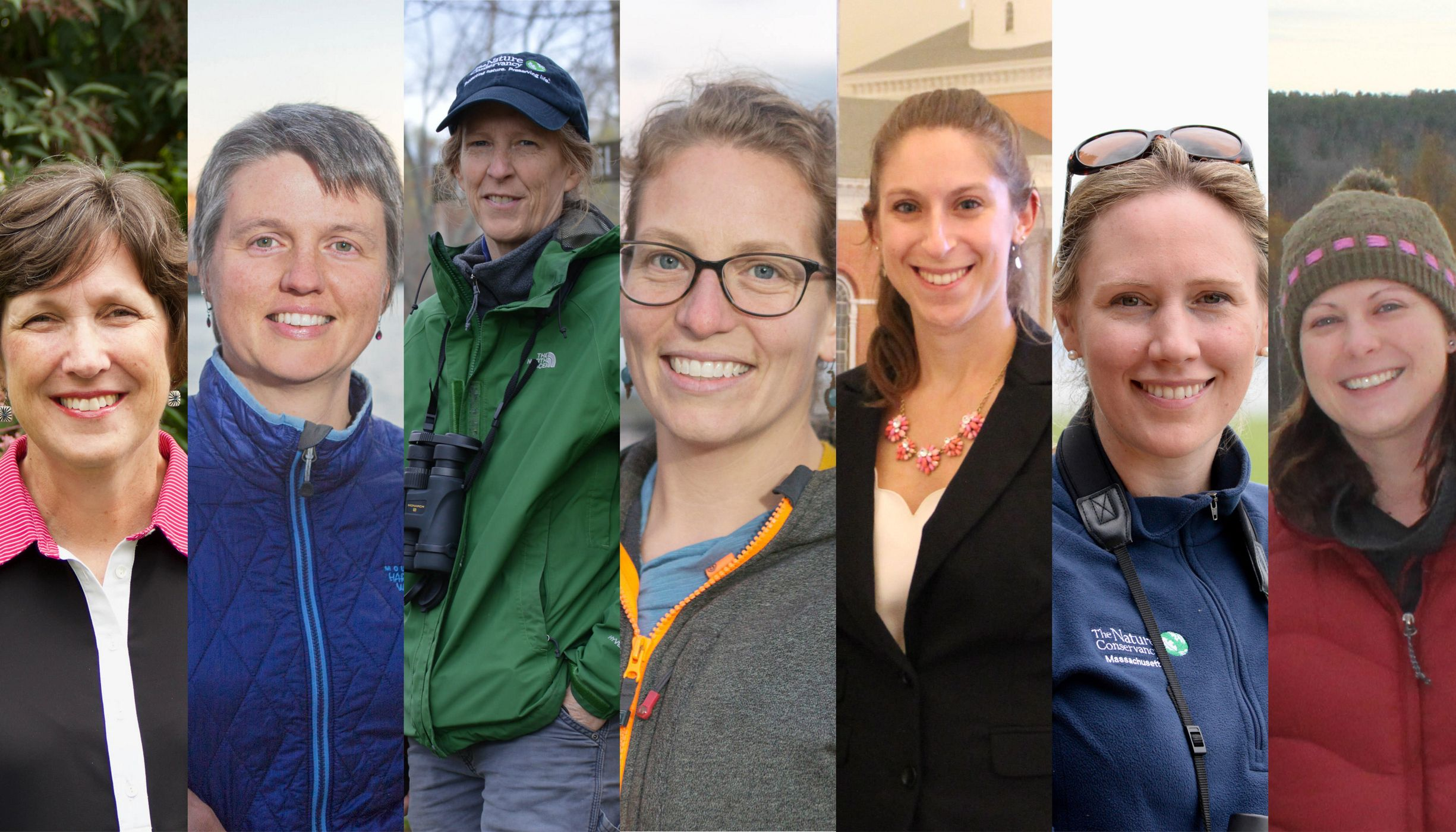 Image collage of seven women scientists from TNC in MA.