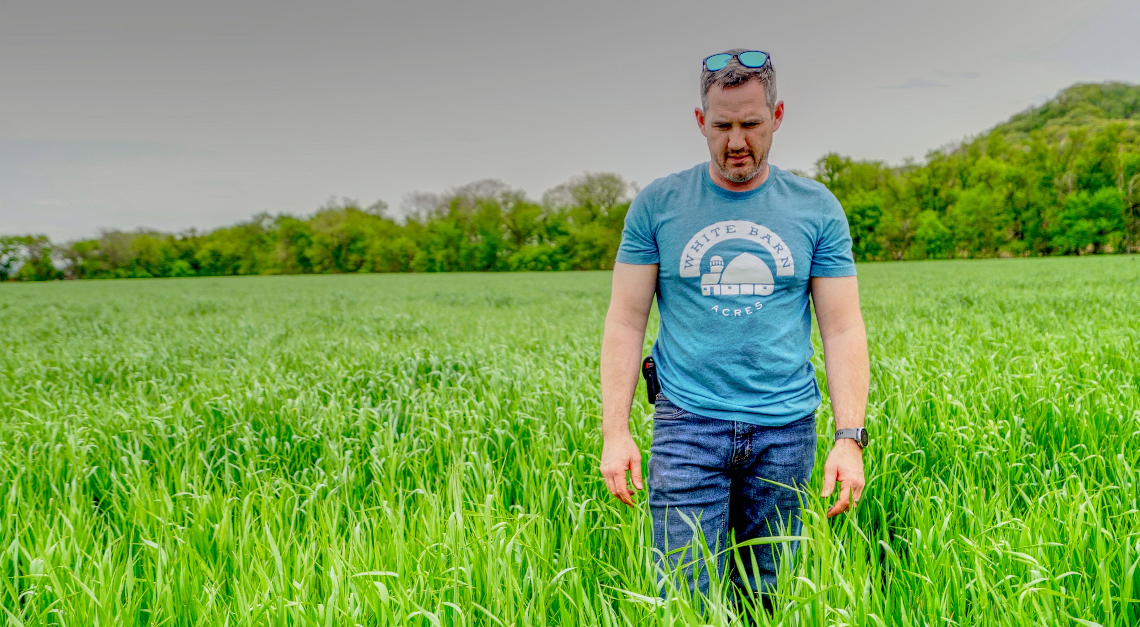 Matt Tentis standing in a field of cover crops wearing a t-shirt that reads White Barn Acres.