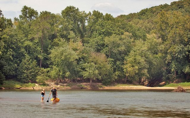 Kayakers portaging around a sandbar in the Missouri Meramec River, one of the longest free-flowing waterways providing key habitat protections in the face of climate change.