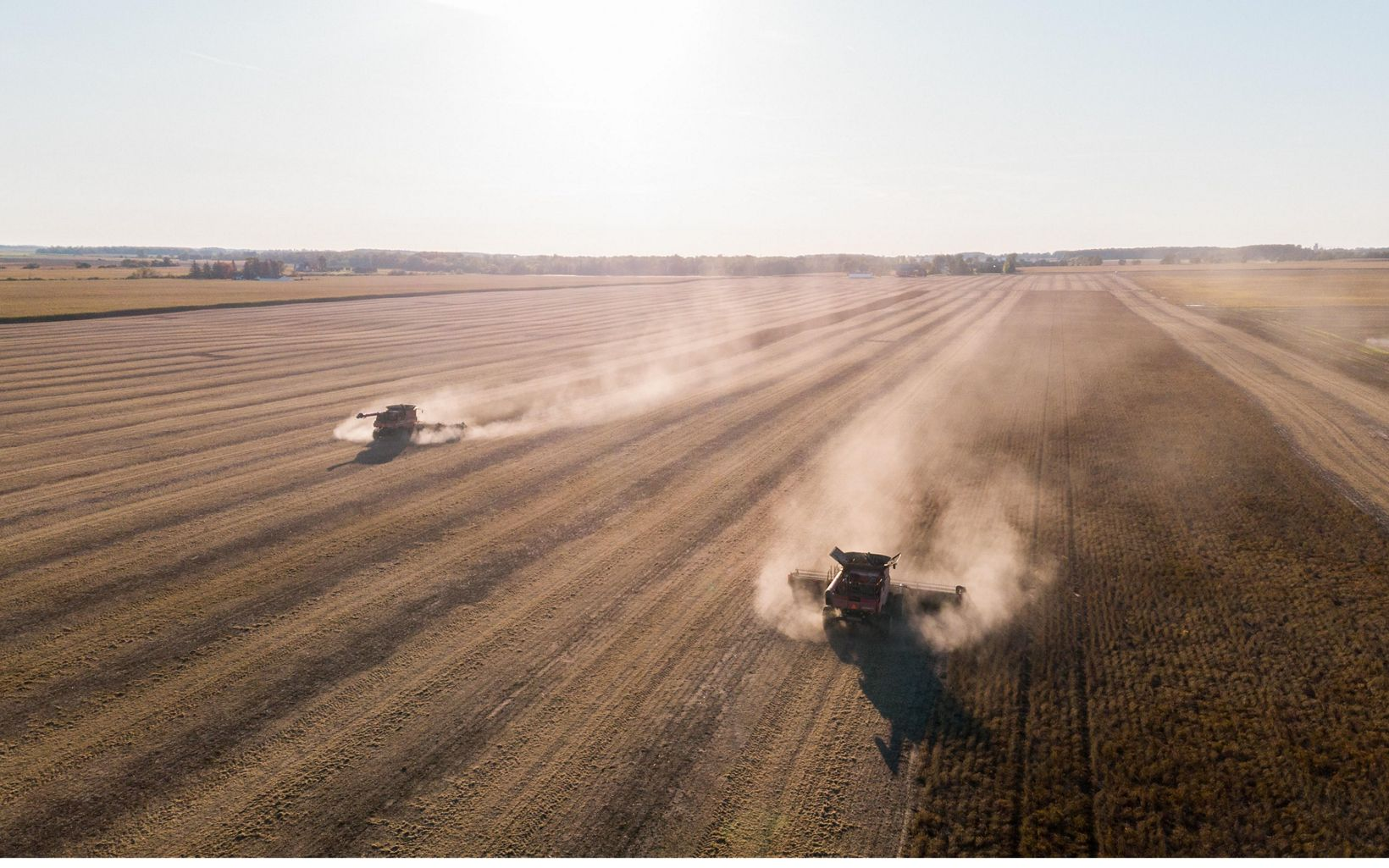 A field being worked on a farm in Michigan's thumb.