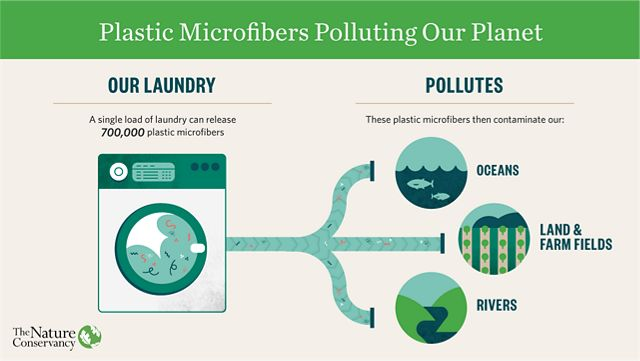 A graphic showing that a single load of laundry can release 700,000 plastic microfibers that pollute oceans, land, rivers.