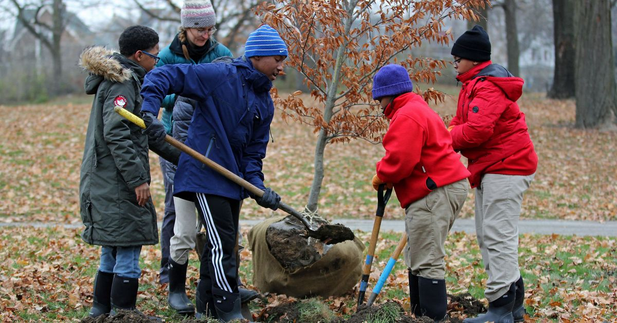Four young boys and a woman bundled up in winter coats dig a hole to plant a small tree, which can be seen nearby, its root ball wrapped in burlap.