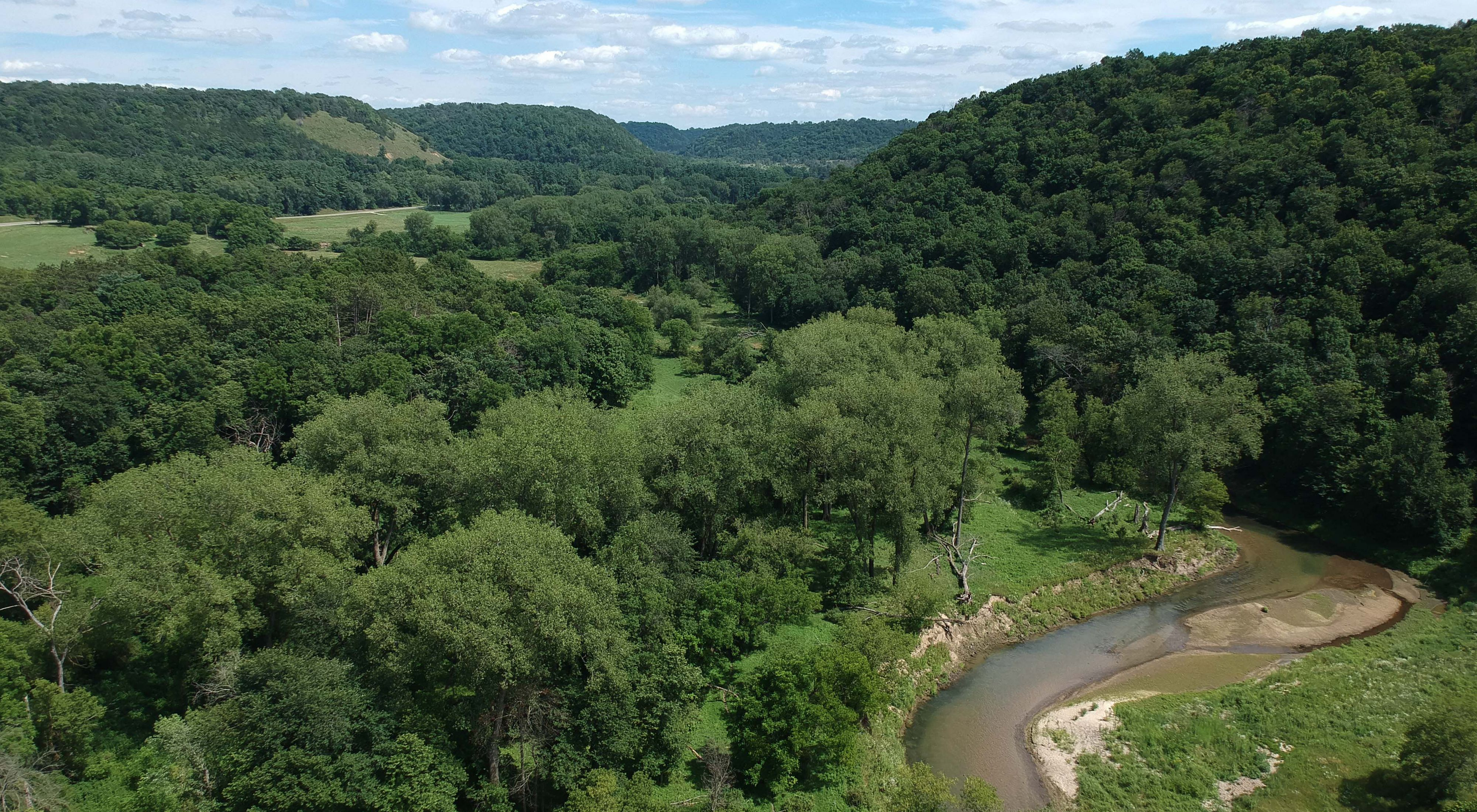 River winding through a forest with patches of open grassland in Minnesota's driftless area.