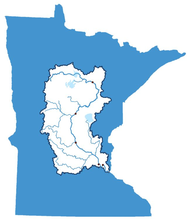 Map of Minnesota showing the Mississippi River headwaters.