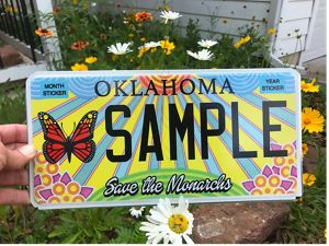 Oklahoma's speciality license plate that supports monarch conservation in the Sooner state.