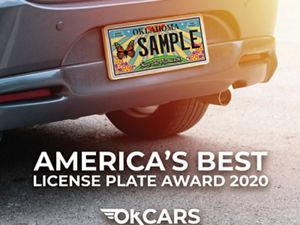 """Monarch license plate on a car with text that reads """"America's Best License Plate Award 2020."""""""
