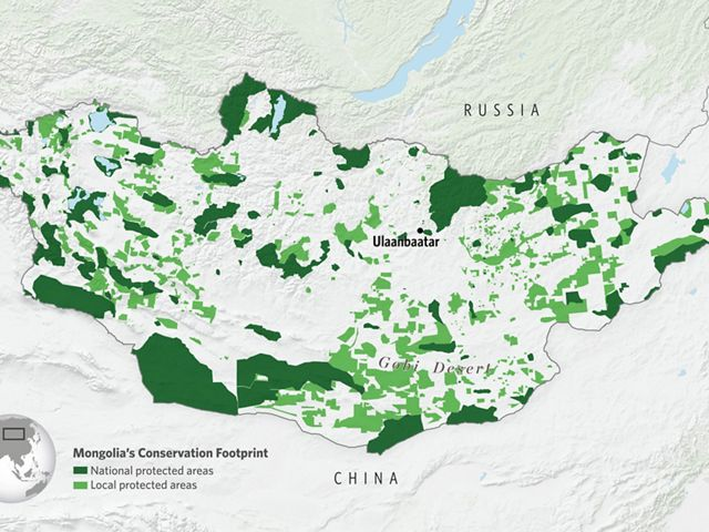A Map of Mongolia's protected areas in 2020.