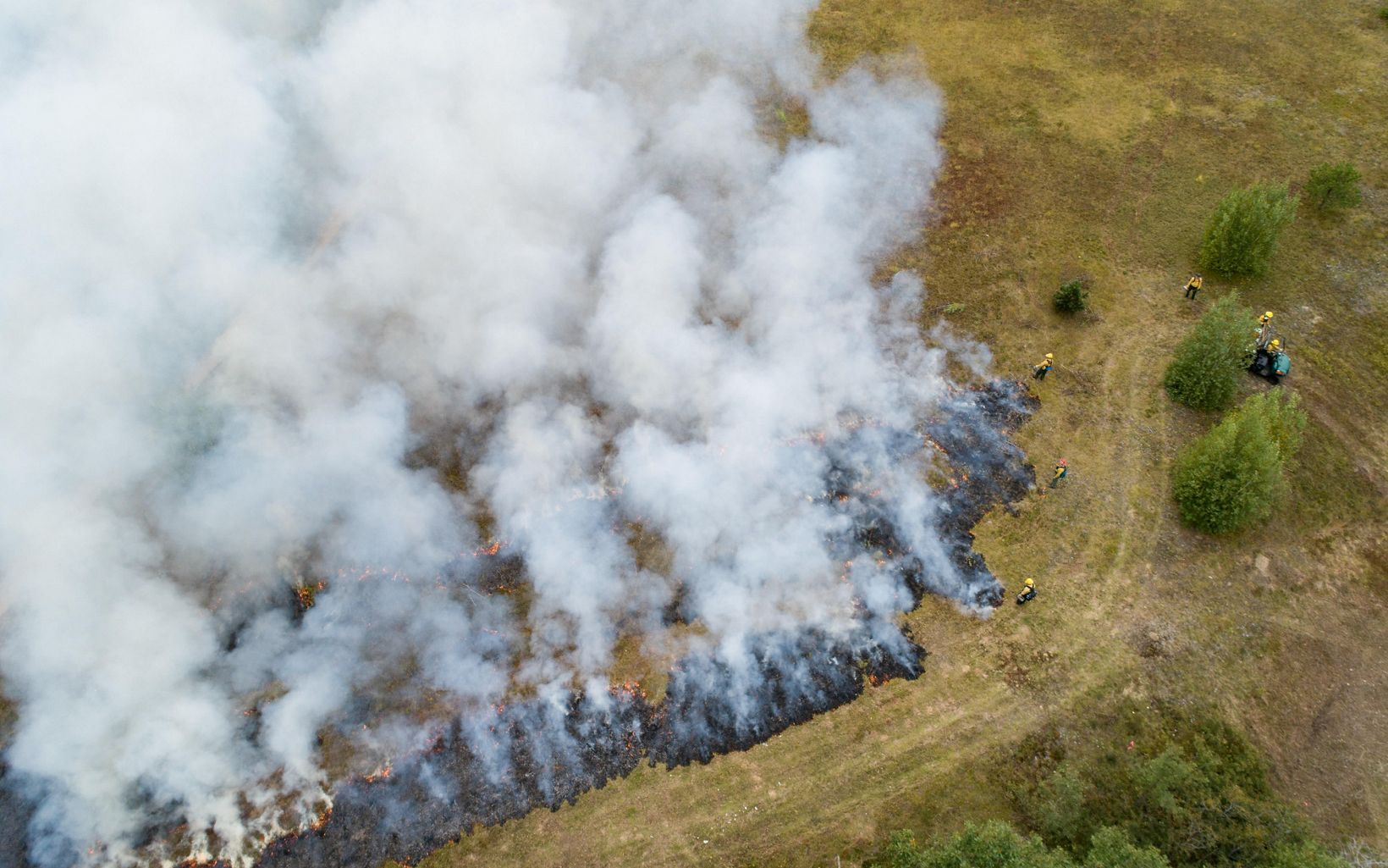 Crew members work the edges of a controlled burn on the grassland at Kennebunk Plains Preserve.