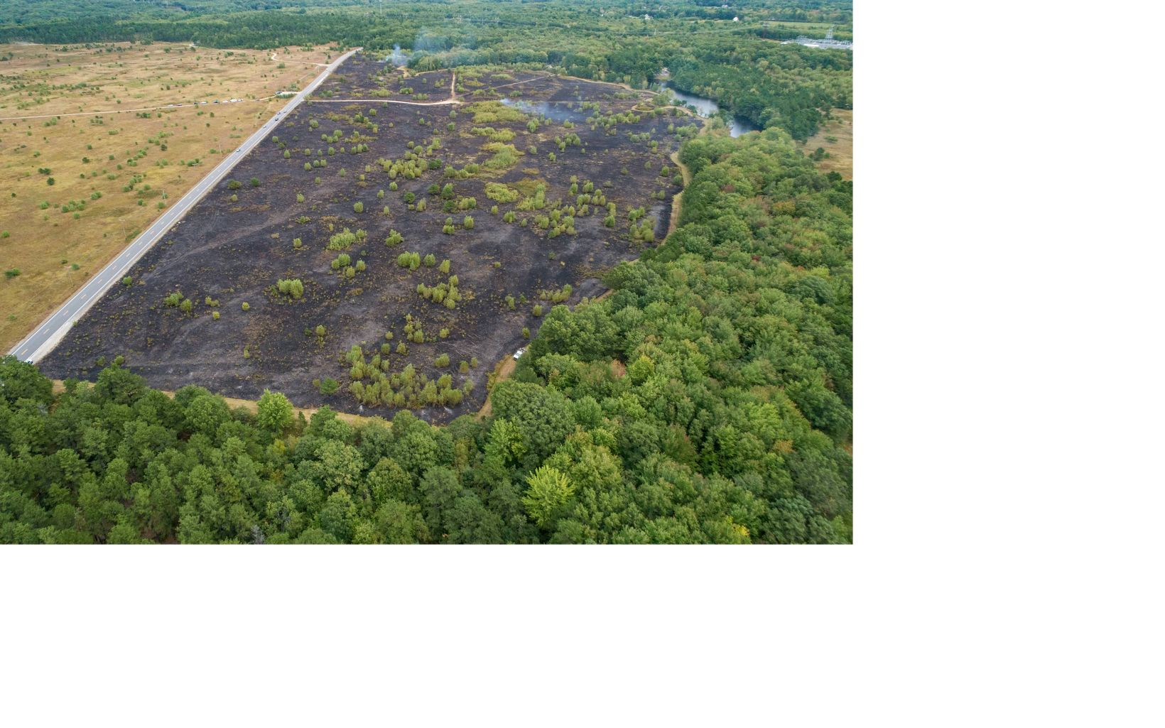 An aerial view after a controlled burn on the grassland at The Nature Conservancy's Kennebunk Plains Preserve.