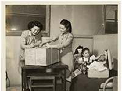 War's End: Two-year-old Suga Moriwaki leaves Central Utah Relocation Camp in 1945