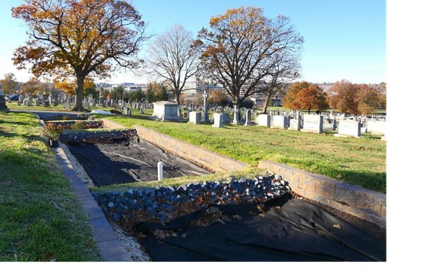 Construction in progress during a first-of-its-kind stormwater retention project at Washington, DC's historic Mount Olivet cemetery.