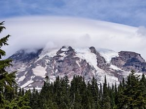 Rocky slopes of Mount Rainier with glaciers and trees.