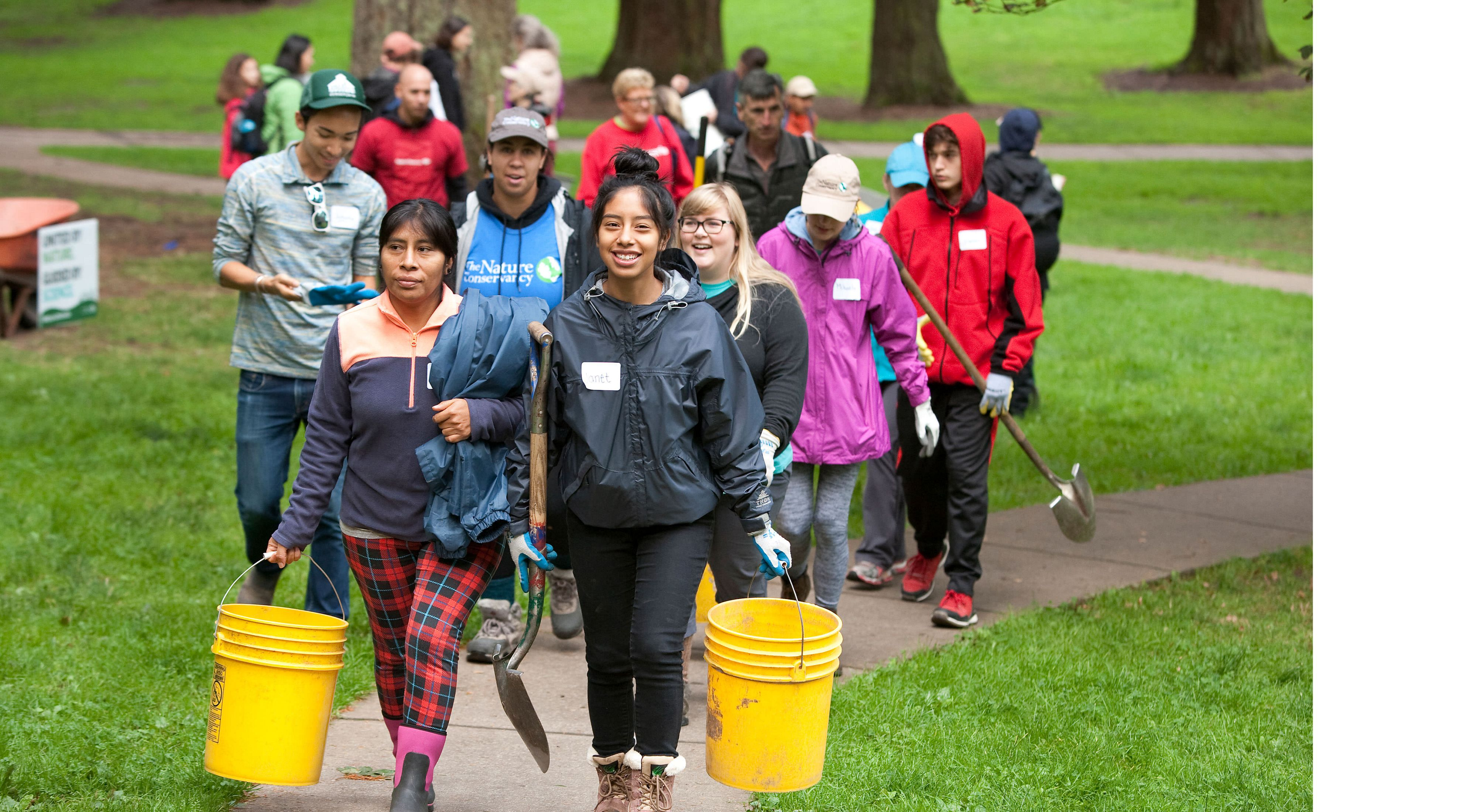 The Nature Conservancy's Mt. Tabor volunteer event on September 30, 2017, in Portland, Oregon.