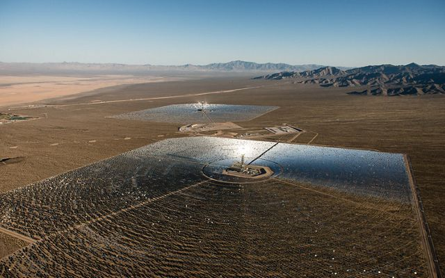Aerial view of the Ivanpah solar facility in Eastern Mojave.
