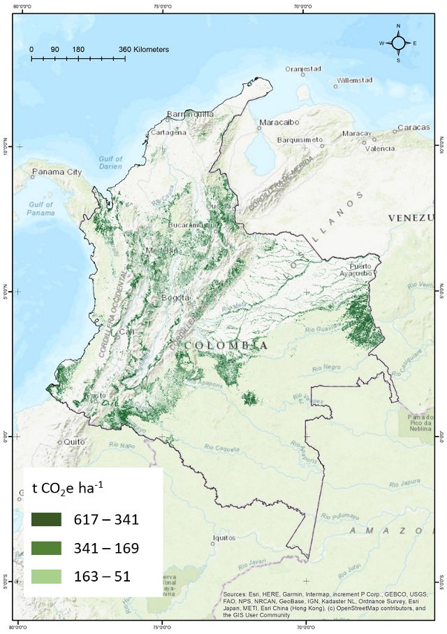 Maximum mitigation potential (t CO2e) from the NCS pathway Avoided Forest Conversion in Colombia during the period 2018-2030.