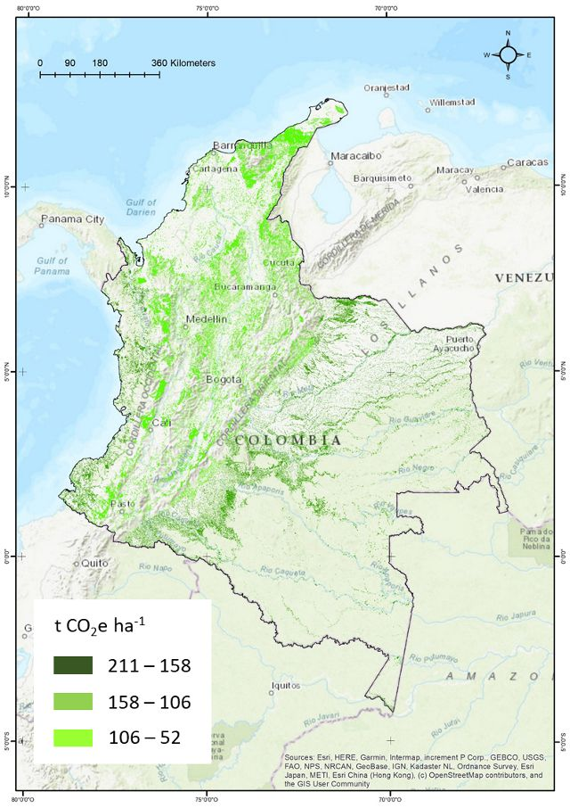 Maximum mitigation potential (t CO2e) from the NCS pathway Forest Restoration in Colombia during the period 2018-2030.