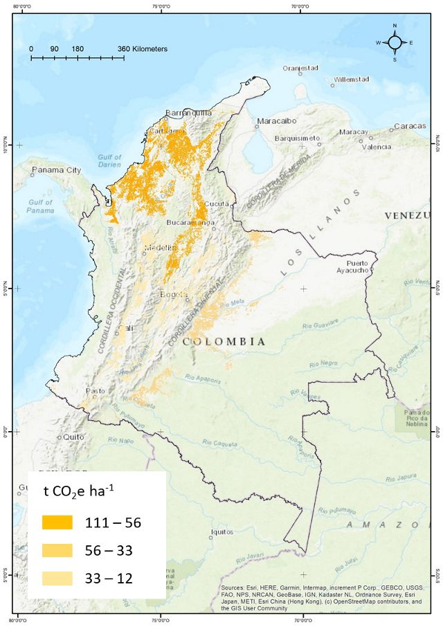 Maximum mitigation potential (tCO2e) from the NCS pathway Trees in Ag Lands in Colombia during the period 2018-2030.