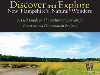 The cover of a guide book to protected lands in New Hampshire.