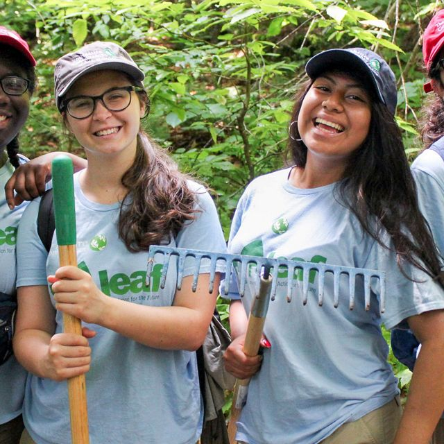 New Hampshire's LEAF interns work on the Black Cap Trail in the Green Hills Preserve in North Conway.