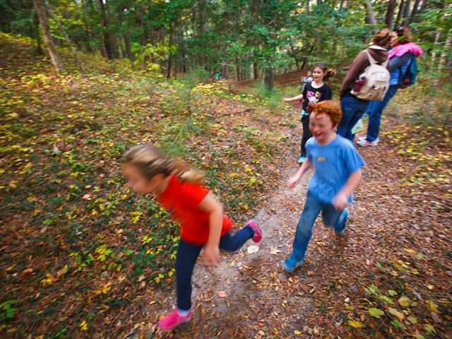 A group of homeschooled children have a play date along the Discovery Trail in the Nags Head Woods Preserve, North Carolina.
