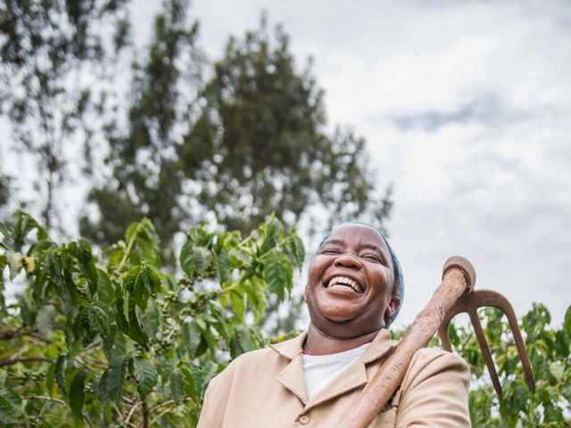 Gladys Wangechi is a farmer in Nyeri County, Kenya. With support from the Upper Tana-Nairobi Water Fund, Gladys has reduced soil runoff from her farm.