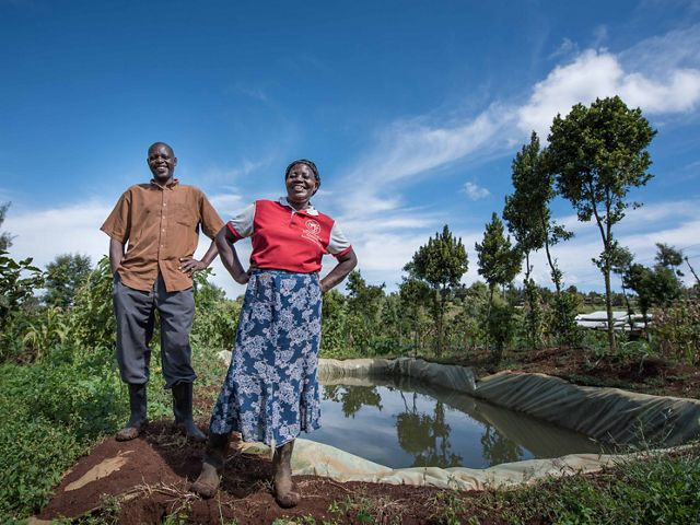 Joseph Gatheru was the first farmer in his area of Nyeri County, Kenya, to have a rainwater harvesting pan.