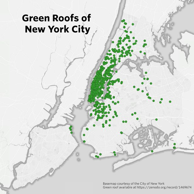Locations of all green roofs mapped in New York City