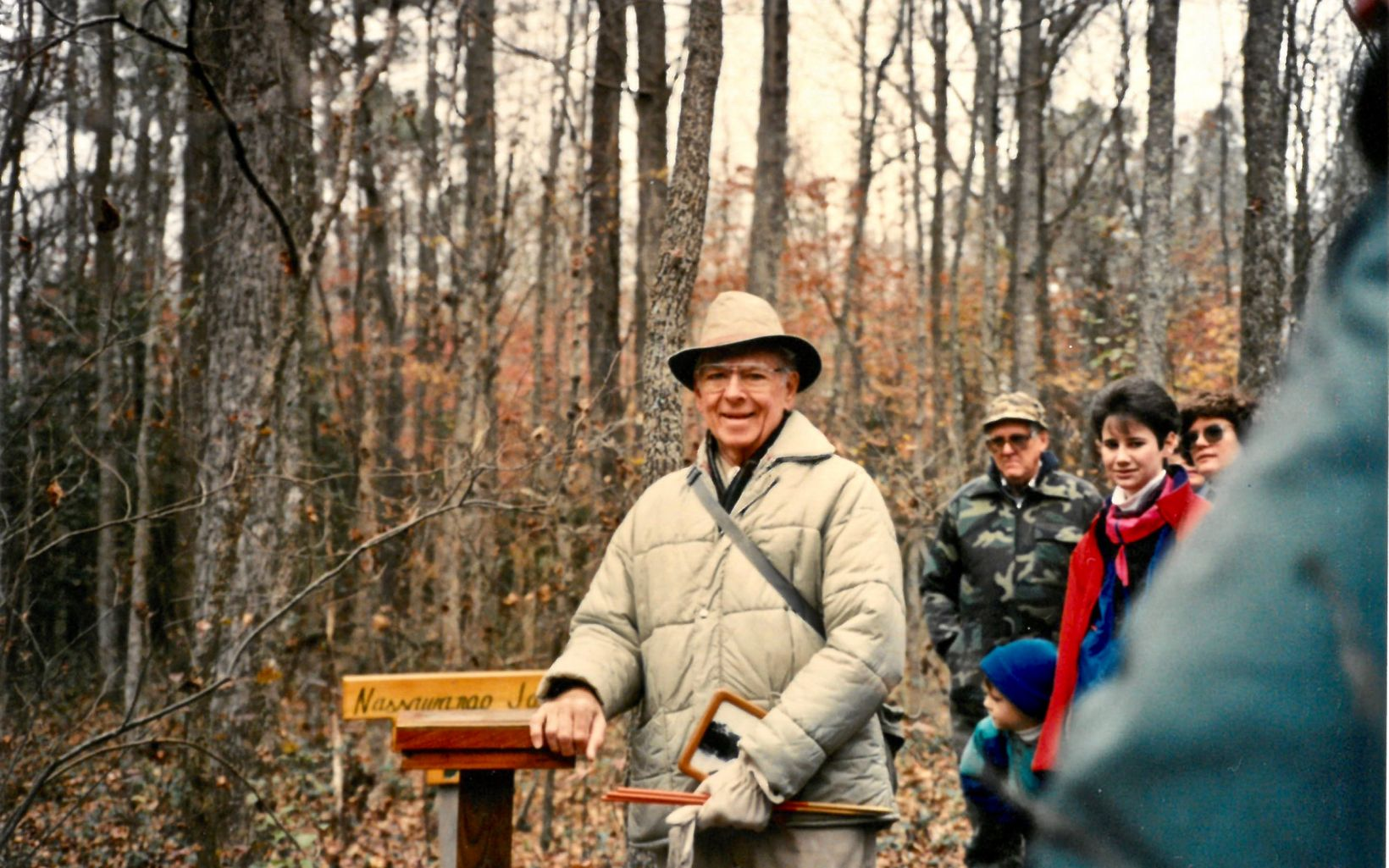 Joe Fehrer, Sr., at the dedication of the Nassawango Joe Trail, Nassawango Swamp Preserve, 1991.