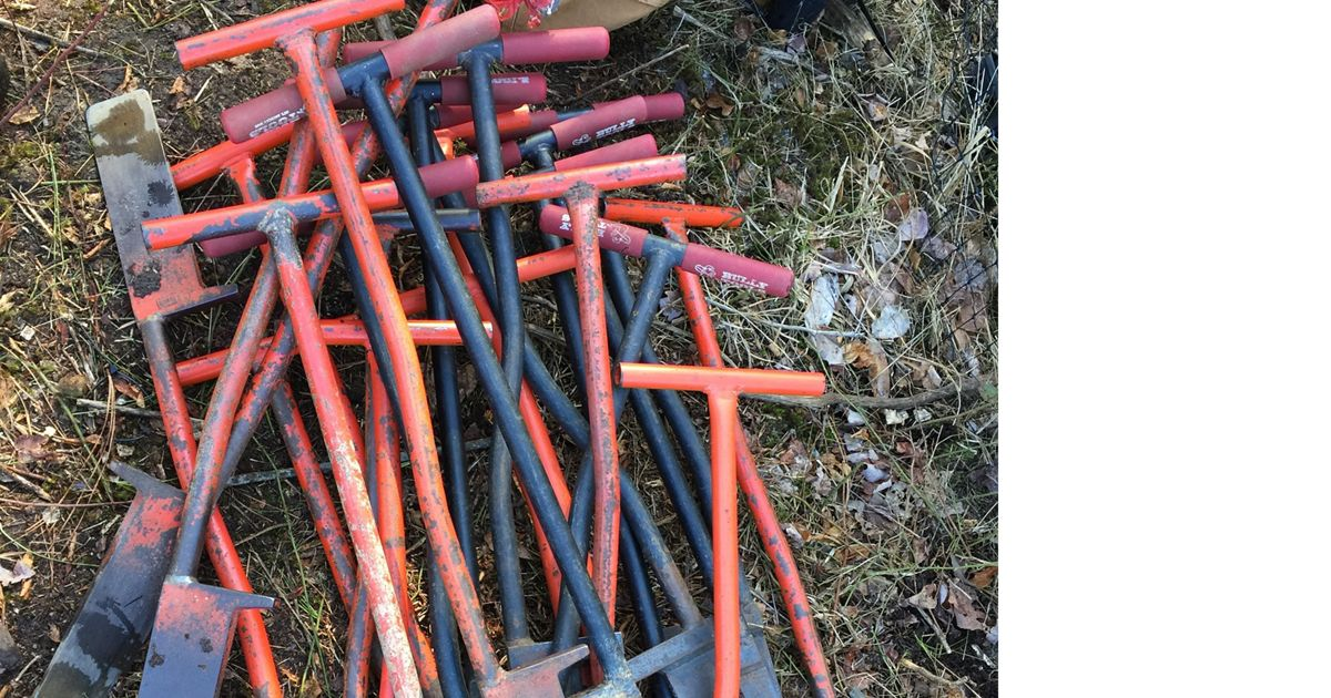 Dibble bars are the tools of the trade for planting seedlings at Nassawango Creek Preserve.