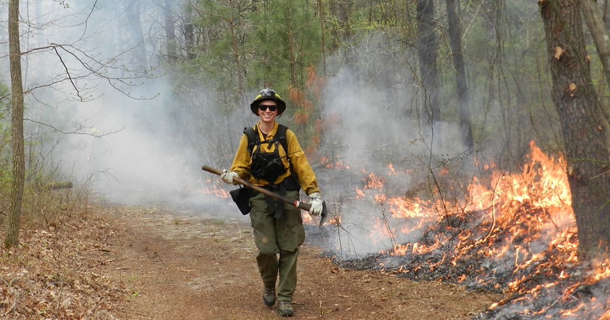 Delaware Land Manager Natasha Whetzel oversees the very first prescribed burn at TNC's Ponders Tract Preserve in 2017.