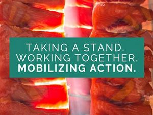 """Image says """"Working together, taking a stand, mobilizing action."""""""