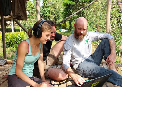 Zuzana Burivalova, and TNC scientists Timothy Boucher, and Eddie Game listening to acoustic data in Yavera.