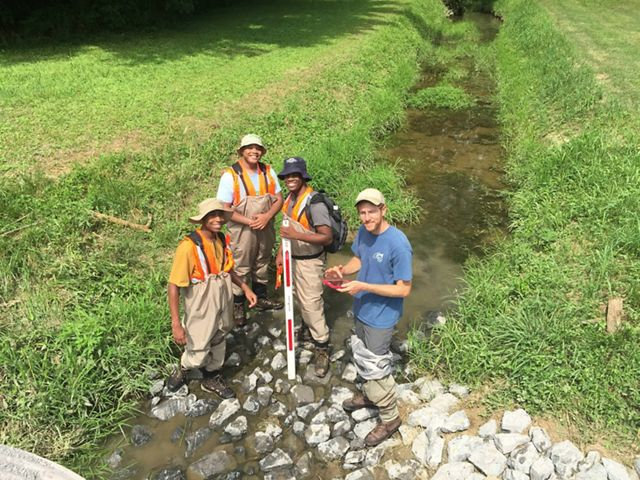LEAF interns conduct fish culvert assessments in North Georgia.