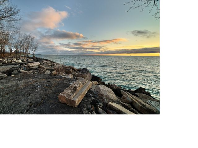 Broken concrete, asphalt and trees along the shore of Lake Michigan in Chicago.